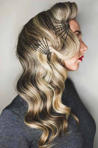 Hairstyles With Pins Hollywood Styling #wavyhair #pins