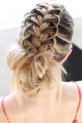 Low Messy Updos Loop Braid #braids #updo