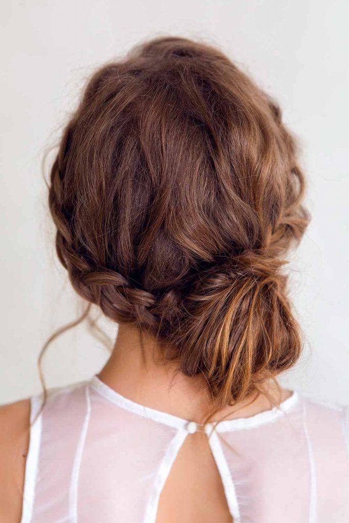 Braided Halo Into Low Bun Updos #braidedhairstyles #halohairstyle