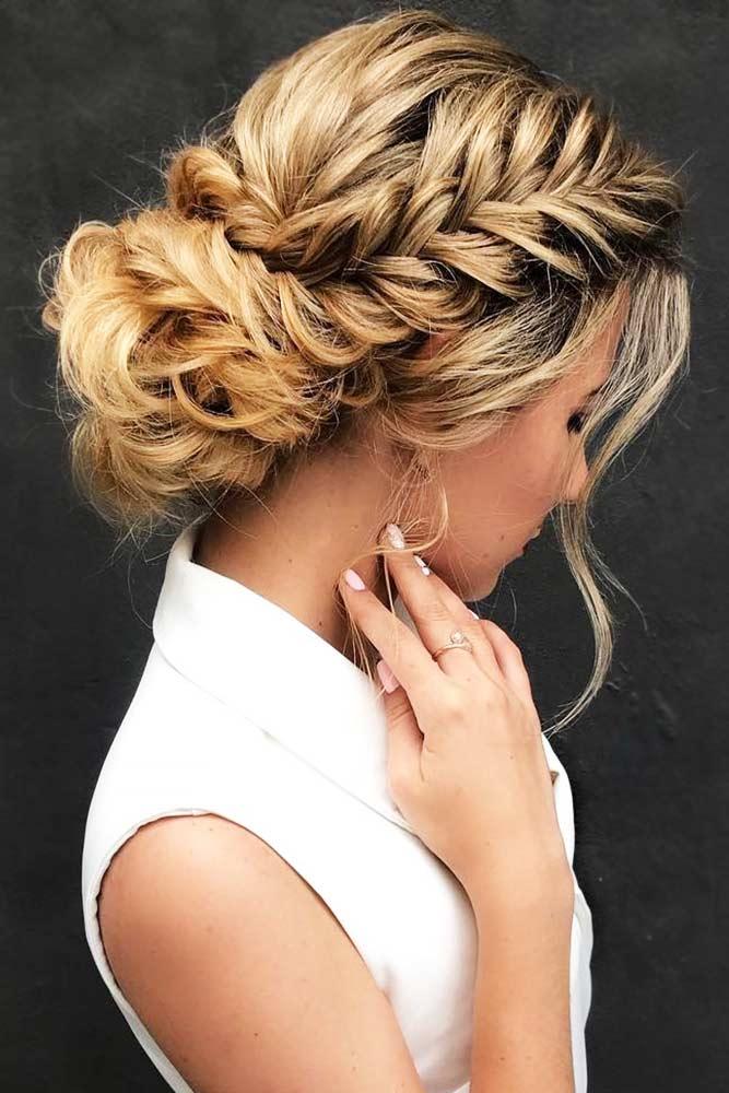 Braids Into Low Bun Updos Fishtail #updo #braids #bun