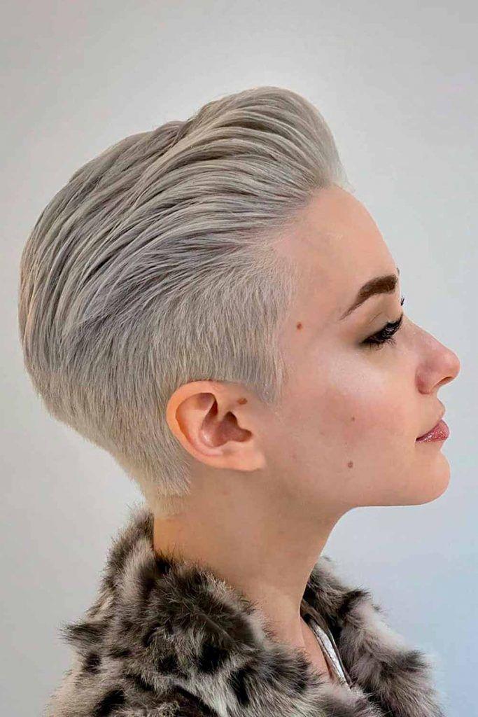 Silver Long Pixie Hairstyle #pixiehaircut #greyhair