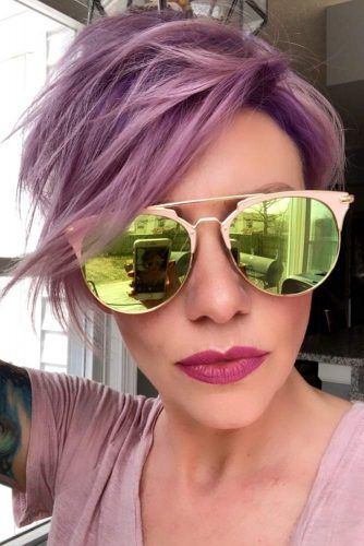 Lilac Textured Long Pixie Cut #pixiecut #haircuts #longpixie #shorthair