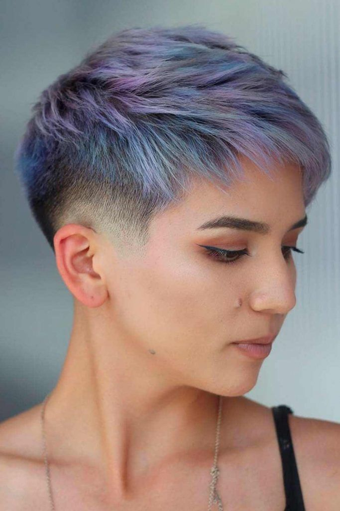 Textured Long Pixie With Shaved Side #purplehair #shorthairstyles