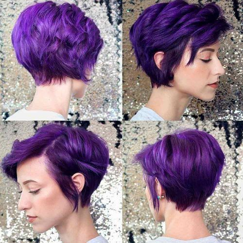 Pixie Cut In The Front And Back #violethair #coloredhair