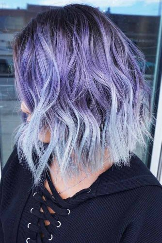 Purple With Ashy Blue Ends #brunette #purplehair #bluehair