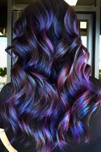 Purple And Blue Highlights For Black Hair #brunette #purplehair