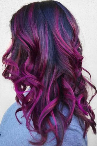 Mulberry Purple Locks #brunette #purplehair #highlights