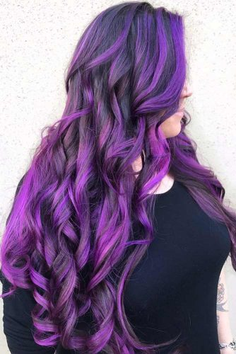 Purple Highlights #brunette #purplehair #highlights