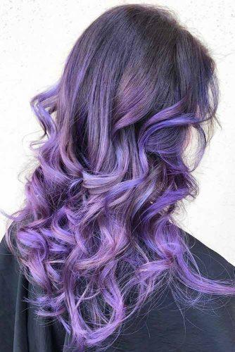 Lavender Purple Tint #brunette #purplehair #balayage