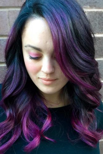 Black Purple Medium Hair picture1