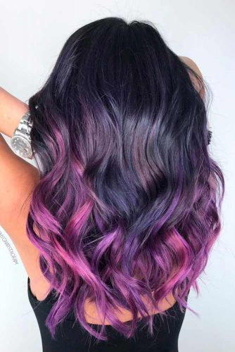 Black Purple Medium Hair picture2