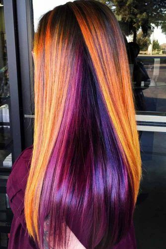 Purple And Orange Combo With Dark Roots #brunette #purplehair
