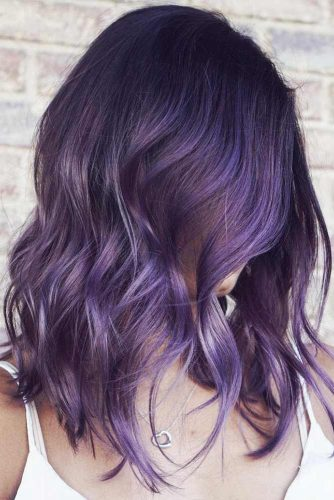 Black With Smokey Purple #brunette #purplehair