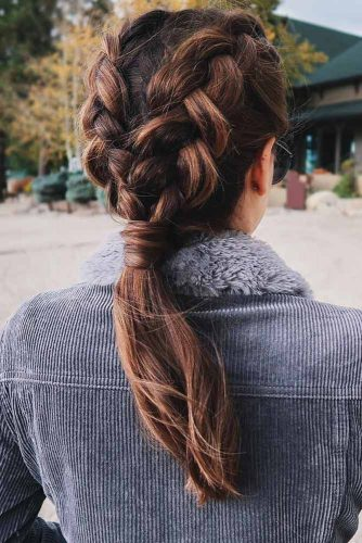 Double Braided Ponytail For Your Long Hair #braids #ponytail