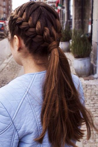 French Braided Ponytail For Your Long Hair #braids #ponytail