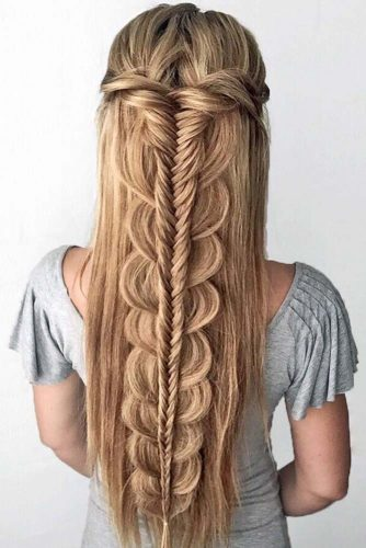 Prom And Homecoming Amazing Hairstyles With Fishtail Braids #braids #halfup