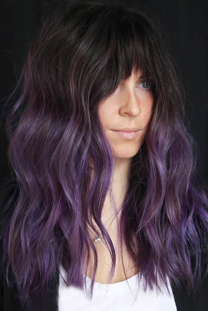 Arched Bangs Purple #longhaircuts