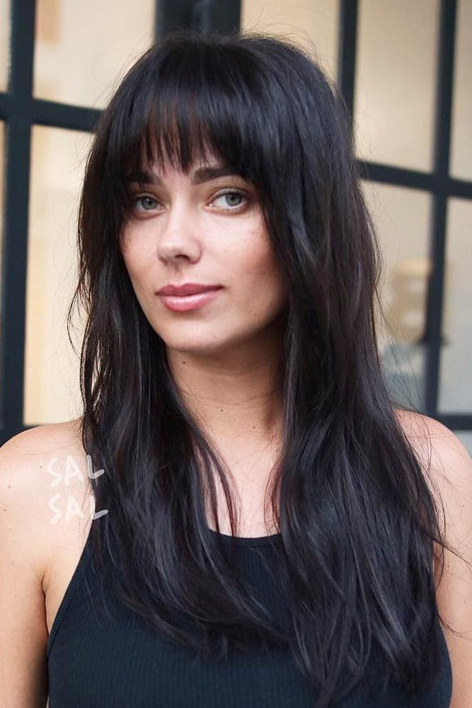 Long Haircuts With Blunt Bangs Brunette #longhaircuts