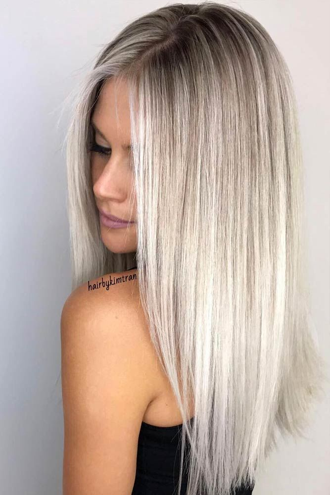 Middle Parted Long Hair Haircuts Blonde #longhair