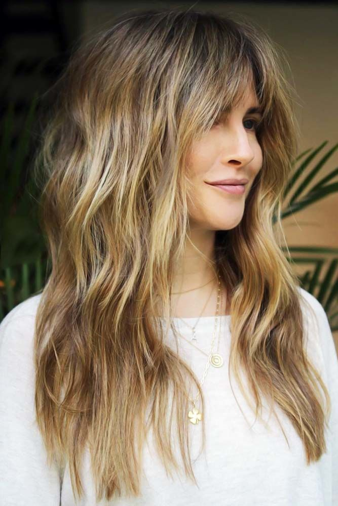 Arched Bangs Blonde #longhaircuts