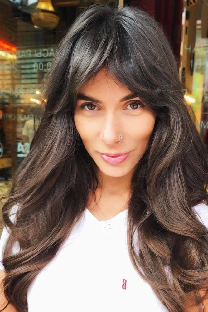 Long Swept Bangs Balayage #longhaircuts