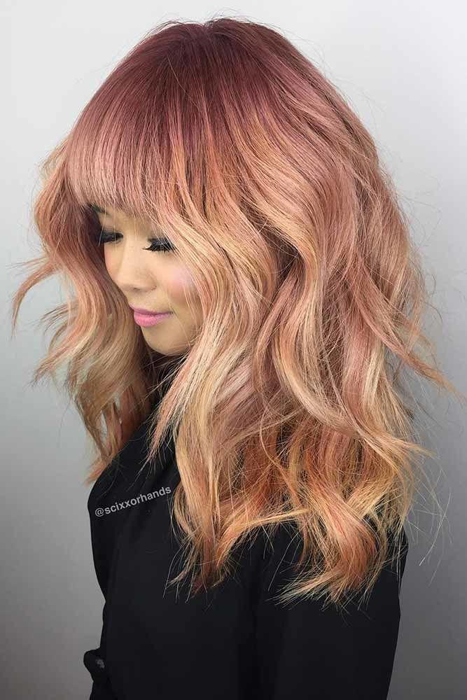 Thick Bangs And Long Haircuts Pink #longhaircuts