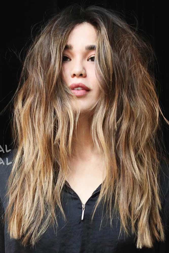 Middle Parted Long Hair Haircuts Ombre #longhair