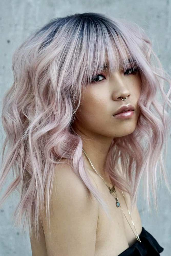 Long Haircuts With Blunt Bangs Pink #longhaircuts