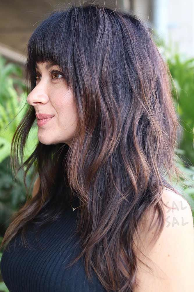 Thick Bangs And Long Haircuts Brunette #longhaircuts