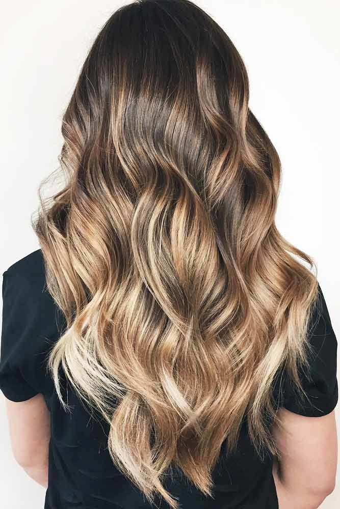 V-Cut Hairstyles For Long Hair Balayage #longhaircuts