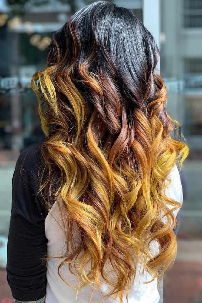 Yellow And Red Ombre Black #ombre