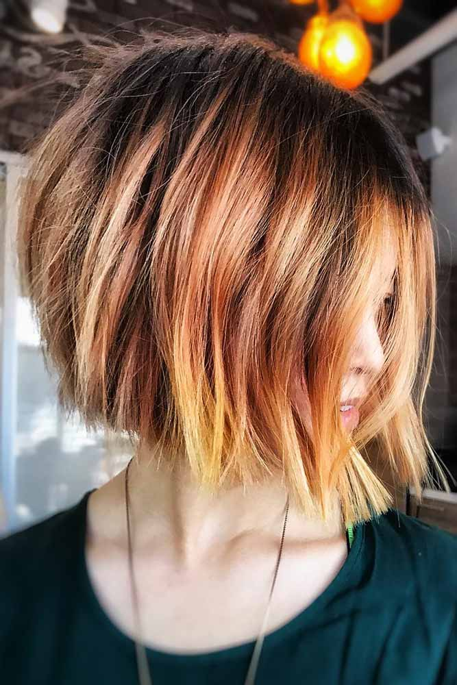Yellow Red Ombre Brunette #brunette #redhair #ombre