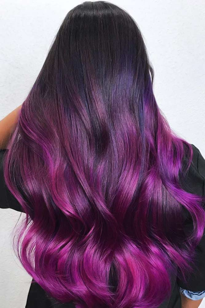 Some Ideas For Dark Hair Purple #ombre