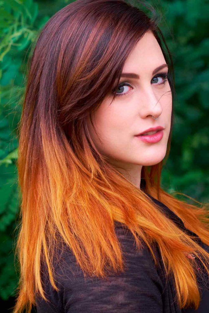 Orange Ombre Hair With Layers #lovehairstyles #fallhaircolors