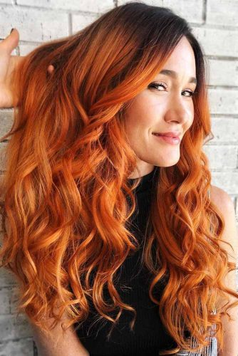 Orange Ombre Hair Red #redhair #brunette #ombre