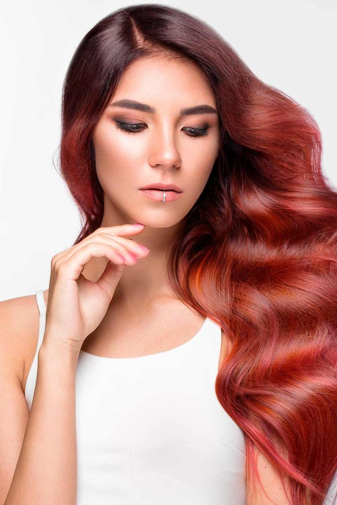 Great Options Of Red Ombre For Long Wavy Hair #lovehairstyles #fallhaircolors #wavyhair #burgundyhair