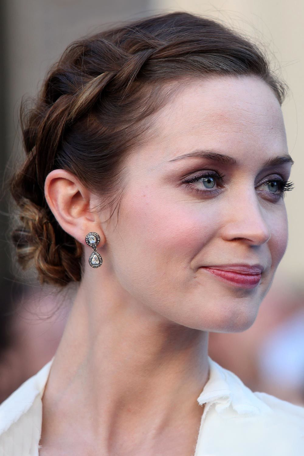 Emily Blunt And Short Hairstyle With Braids