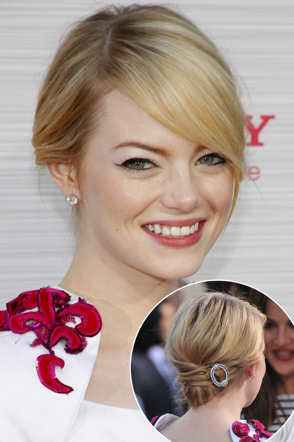 Easy Short Hairstyle With Hair Accessories For Emma Stone