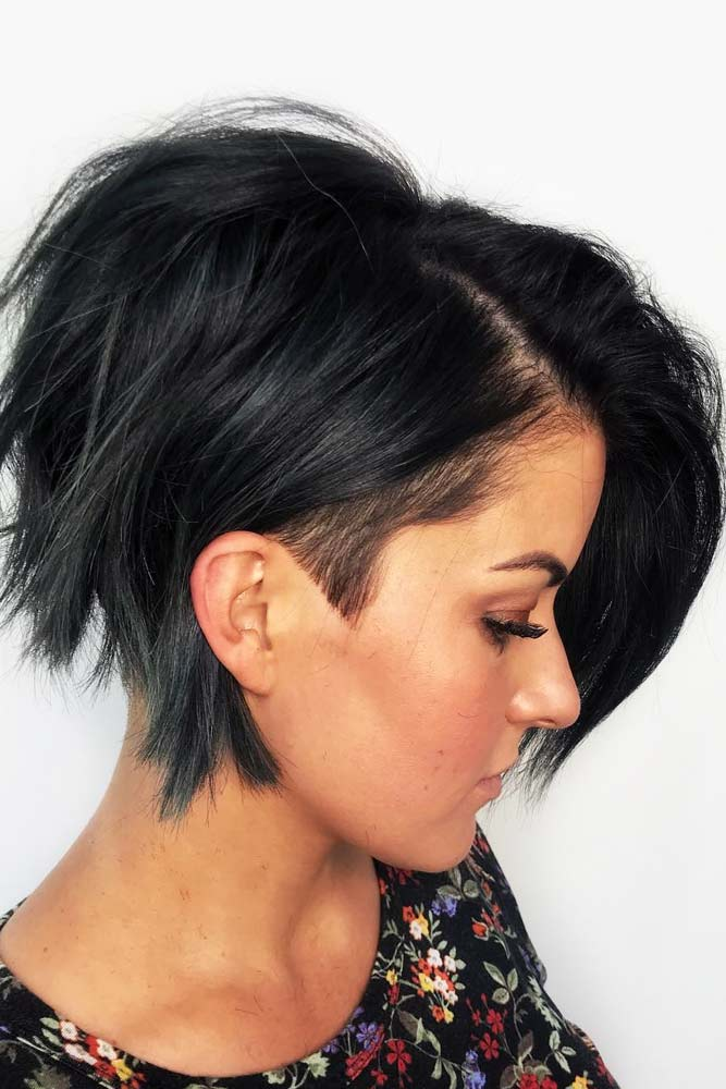 A line Bob With Undercut #shorthaircuts #shorthairstyles #shorthair #bobhaircuts #undercut