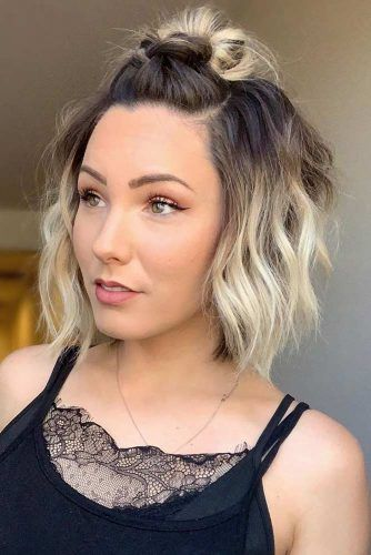 Wavy Half Up Hairstyles For The Best Short Haircuts #shorthaircuts #shorthairstyles #shorthair #bobhaircut