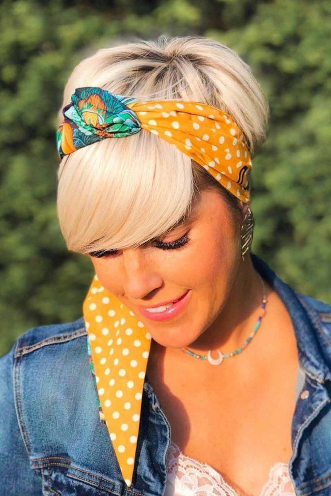 Short Hairstyle With Hair Scarf #hairscarf #simplehairstyles