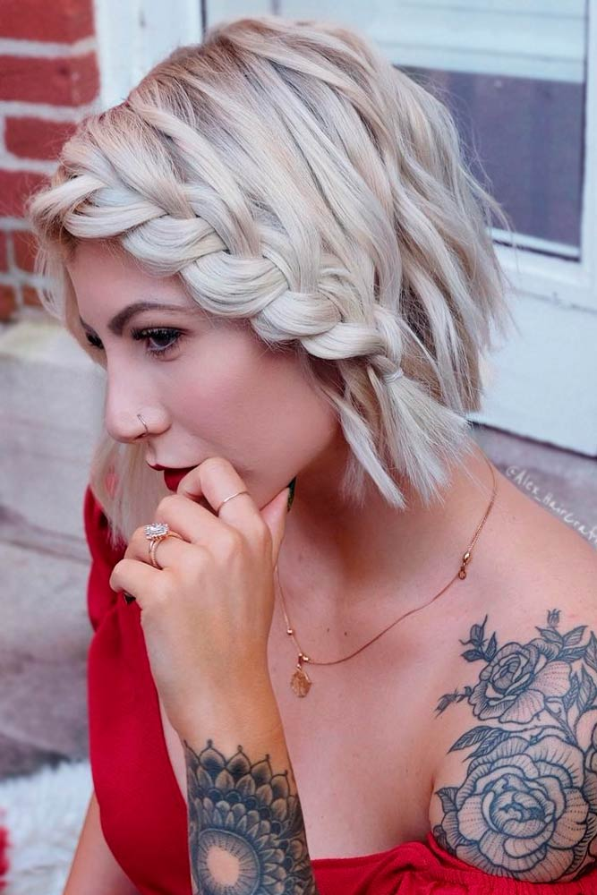 Side Braided Blonde Bob