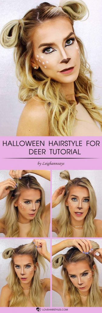Quick Hairstyle For Halloween Deer #halloweenhairstyles #halloween #hairstyles #tutorial #longhair