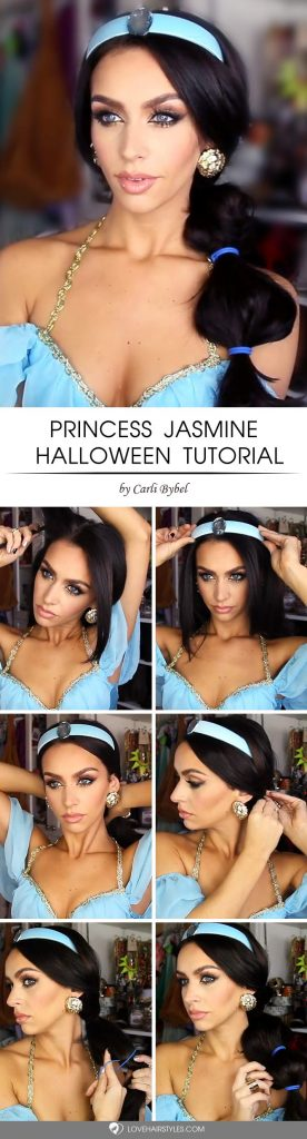 Princess Jasmine Halloween Tutorial #halloweenhairstyles #halloween #hairstyles #tutorial #longhair
