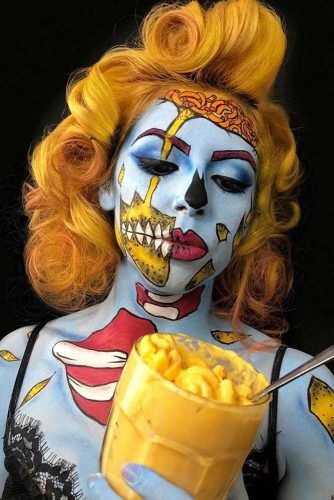 Retro Yellow Bob For Mac And Cheese Zombie #halloweenhairstyles #halloween #hairstyles