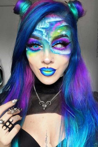 Aurora Borealis Look With Space Buns Half Up #halloweenhairstyles #halloween #hairstyles #spacebuns #longhair