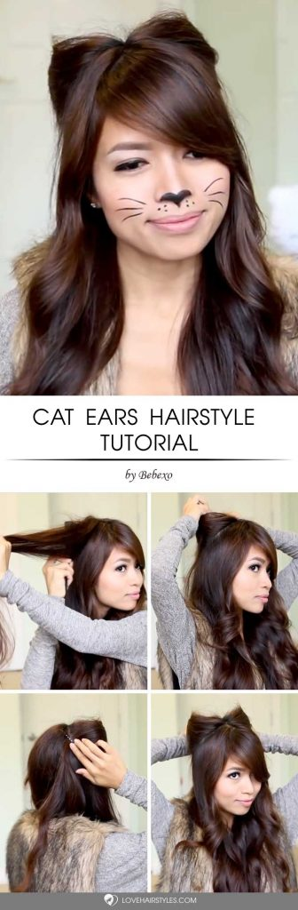 Cat Ears Hairstyle Tutorial #halloweenhairstyles #halloween #hairstyles #tutorial #longhair