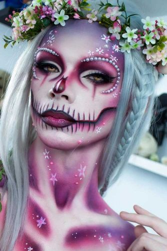 Flower Skull Look With Braided Straight Hair #halloweenhairstyles #halloween #hairstyles #skullmakeup #longhair