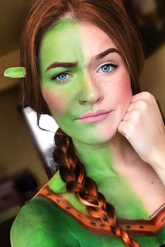 Princess Fiona With Braid #halloweenhairstyles #halloween #hairstyles #longhair