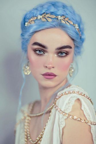 Blue Updo Pastel In Greece Style #halloweenhairstyles #longhair